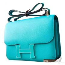 Hermes Constance 23cm 7f Blue Paon Epsom Bag Enamel PHW