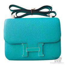 Hermes Constance 23cm Bicolored 7f Blue Paon Epsom Bag Enamel PHW