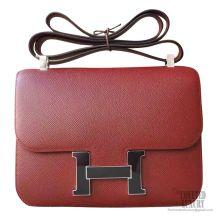 Hermes Constance 23cm ck55 Rouge H Epsom Bag Enamel PHW