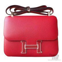 Hermes Constance 23cm Bicolored k1 Rouge Grenade Epsom Bag Enamel PHW