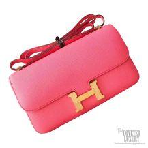 Hermes Constance Elan 25 Bag 8w Rose Azalee Epsom GHW