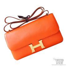 Hermes Constance Elan 25 Bag 9j Feu Swift GHW
