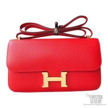 Hermes Constance Elan 25 Bag q5 Rouge Casaque Epsom GHW