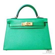 Hermes Mini Kelly II Bag 1k Bambou Epsom GHW