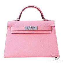 Hermes Mini Kelly II Bag 1q Rose Confetti Epsom PHW