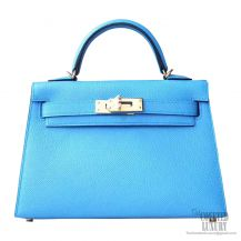 Hermes Mini Kelly II Bag 2t Blue de Paradise Epsom GHW