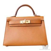 Hermes Mini Kelly II Bag 3g Alezan Epsom GHW
