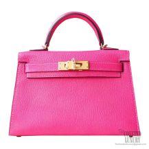 Hermes Mini Kelly II Bag 5r Rose Shocking Chevre GHW