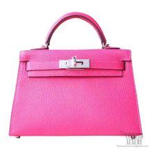Hermes Mini Kelly II Bag 5r Rose Shocking Chevre PHW