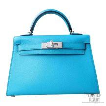 Hermes Mini Kelly II Bag 7m Blue Aztec Chevre PHW