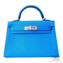 Hermes Mini Kelly II Bag 7t Blue Electric Chevre PHW