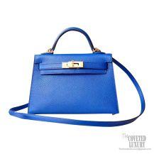 Hermes Mini Kelly II Bag 7t Blue Electric Epsom PHW