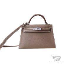 Hermes Mini Kelly II Bag ck18 Etoupe Chevre PHW