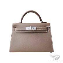 Hermes Mini Kelly II Bag ck18 Etoupe Epsom PHW