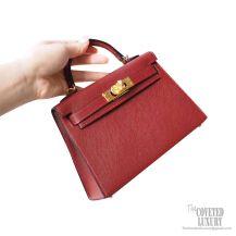 Hermes Mini Kelly II Bag ck55 Rouge H Epsom GHW