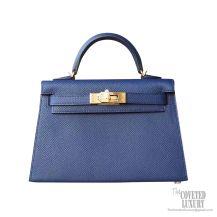 Hermes Mini Kelly II Bag ck73 Blue Saphir Epsom GHW