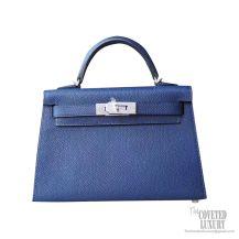 Hermes Mini Kelly II Bag ck73 Blue Saphir Epsom PHW