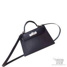 Hermes Mini Kelly II Bag ck89 Noir Chevre PHW