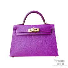 Hermes Mini Kelly II Bag p9 Anemone Epsom GHW