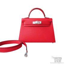 Hermes Mini Kelly II Bag s5 Rouge Tomate Epsom PHW
