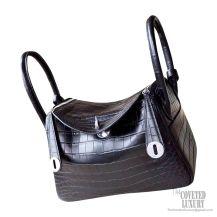 Hermes Lindy 26 Bag in ck89 Noir Matte Alligator PHW