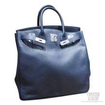 Hermes Birkin Hac 40 Bag 7L Blue De Malte Clemence Calskin SHW