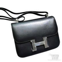 Hermes Constance 23 Bag Black Tadelakt SHW