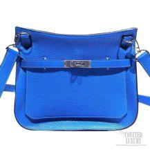 Hermes Jypsiere 34 Large Bag Bleu Hydra T7 Taurillon Clemence