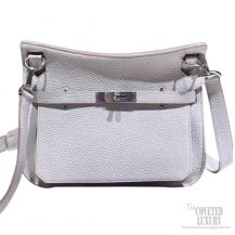 Hermes Jypsiere 34 Large Bag Pearl Gray CK80 Clemence