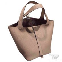 Hermes Picotin Lock 22 Bag Gris Tourterelle Taurillon Clemence CK81