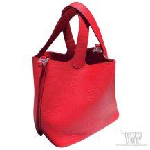 Hermes Picotin Lock 22 Bag Rouge Casaque Q5 Taurillon Clemence