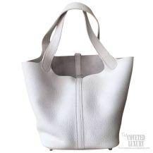 Hermes Picotin Lock 22 Bag Blanc CK01 Taurillon Clemence