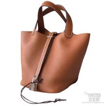 Hermes Picotin Lock 22 Bag Gold CK37 Taurillon Clemence