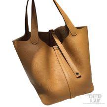 Hermes Picotin Lock 22 Bag Kraft CK2H Taurillon Clemence