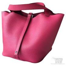 Hermes Picotin Lock 22 Bag Ruby B5 Taurillon Clemence