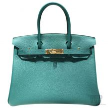 Hermes Birkin 35 Bag Malachite z6 Togo GHW