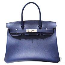 Hermes Birkin 35 Bag Blue Saphir Epsom SHW