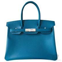 Hermes Birkin 35 Bag Blue Izmir Epsom SHW