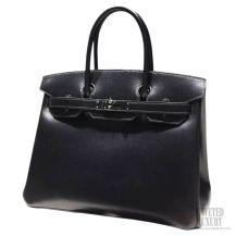 Hermes Birkin 35 Bag Black Tadelakt SHW