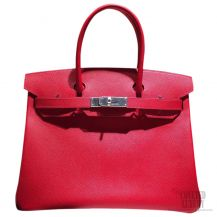Hermes Birkin 35 Rouge Casaque Epsom SHW