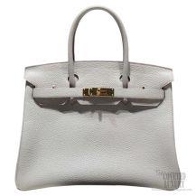 Hermes Birkin 35 Bag Pearl Grey CK80 Togo GHW
