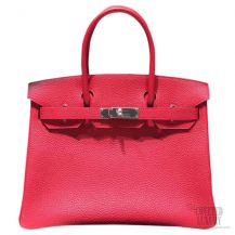 Hermes Birkin 35 Bag Rouge Piovine Togo SHW