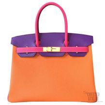 Hermes Birkin 35 Bag Tri-color Mango 9Z Epsom GHW