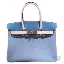 Hermes Birkin 35 Bag Tri-color Blue Epsom GHW