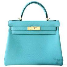 Hermes Kelly 32 Bag Blue Atoll 3p Togo GHW