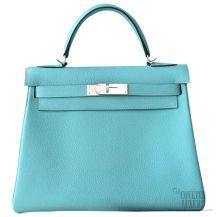 Hermes Kelly 32 Bag Blue Atoll 3p Togo SHW