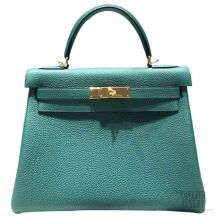 Hermes Kelly 32 Bag Malachite Z6 Togo GHW