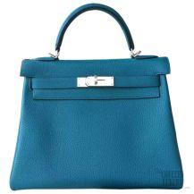 Hermes Kelly 32 Bag Blue Izmir 7w Togo SHW