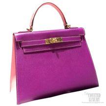 Hermes Kelly 32 Bag Bicolor Anemone p9 Epsom GHW