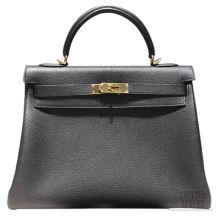Hermes Kelly 32 Bag Black Togo GHW